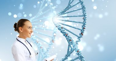 mutations | Pompe Disease News | genetics | medical professional standing in front of DNA graphic