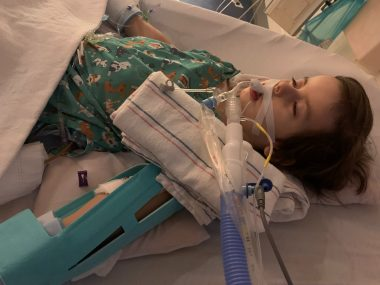 hospitalization \ Pompe Disease News \ A recent photo shows Cayden sedated and intubated in the hospital.