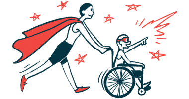 rare disease clinical trial participants | Pompe Disease News | Illustration of woman in cape pushing child in wheelchair